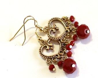 Red Velvet and Gold Heart Fashion Earrings - Boho Bohemian Style Beaded Earrings - Womens Jewelry