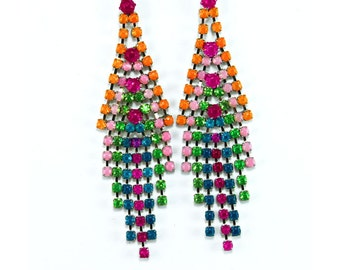 Neon Painted Rhinestone Dangle Earrings, OOAK, Orange Pink Fuschia Green Blue