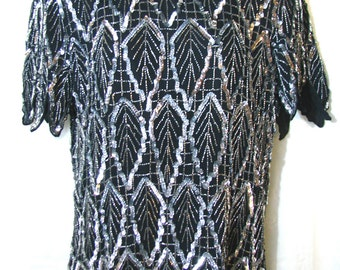 Black and Silver Beaded and Sequined Short Sleeved Blouse - Vintage 1980s Size Medium - Great Condition Sparkle Blouse