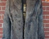 1970's Grey Rabbit Fur Collared Coat Size S