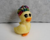 Needle felt yellow duckling collectible with hat