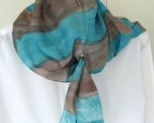 Hand painted silk scarf aqua  brown  silk scarf in teal  8x54 inches striped watercolour design