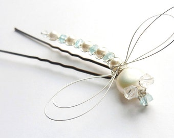 White Pearl and Caribbean Apatite Dragonfly Hair Pin - Dragonfly Jewelry -Tagt