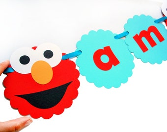 Elmo Banner, I am 2  Banner - Red and Aqua Blue (any age) banner  A391