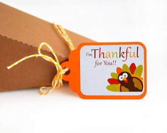 18 Thanksgiving Tags, thank you tags, I am Thankful for you, 18 Handmade Tags, Thanksgiving Tags, Thanksgiving Decor, twine on the side A475