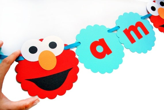 Elmo Birthday Party Ideas to create the perfect Elmo Birthday Party by MariaPalito Elmo Banner, I am 2 Banner - Red and Aqua Blue (any age) banner A391