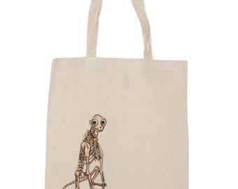Skeleton Cat Mr Pofkins Canvas Tote Reusable Shopping Bag