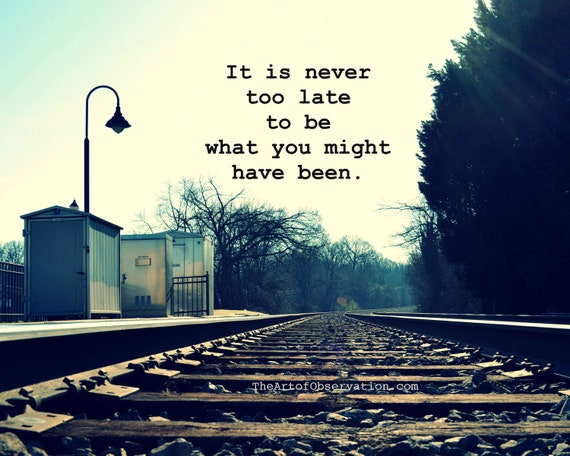 Train tracks photography landscape // 40% OFF // 5x7, George Eliot Inspirational Quote