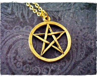 Gold Pentagram Necklace - Antique Gold Pewter Pentagram Charm on a Delicate Gold Plated Cable Chain or Charm Only
