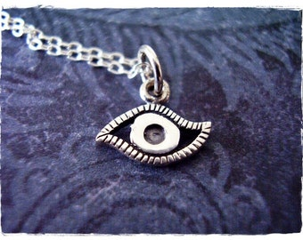 Tiny Silver Evil Eye Necklace - Sterling Silver Evil Eye Charm on a Delicate Sterling Silver Cable Chain or Charm Only