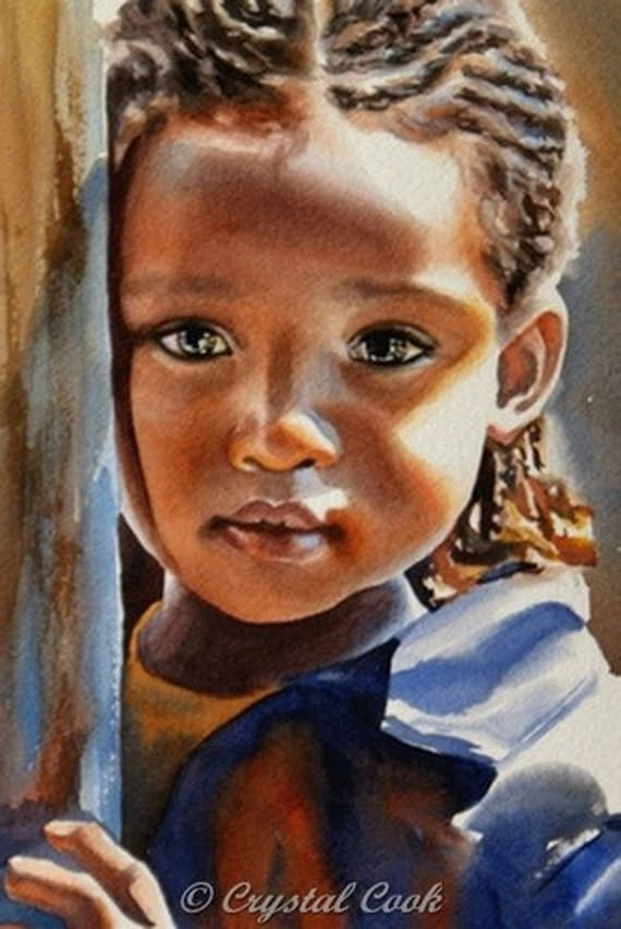 ACEO print watercolor portrait African child painting solemn little girl limited edition