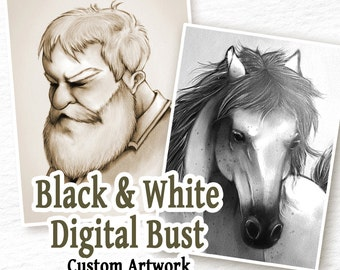 COMMISSION: Digital BW Drawing - 1 Character Bust - Custom Art, Commissioned Art, Tattoo Design