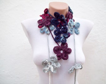Crochet Lariat Scarf, Flower Wrap Scarves, Skinny Accessories, Floral Necklace, Crocheted Jewellery, Christmas Gift, White Grey Burgundy