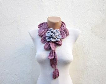 Leaf Scarf,Lariat Scarf,Brooch Pin,Crochet Flower Scarf