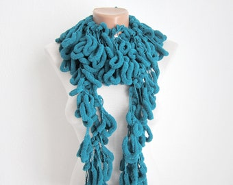 Mulberry Crochet Scarf, Long Pompom Scarves, Chunky Cocoon Accessories, Pom pom Neckwarmer, Pon pon, Autumn Faal Fashion, Christmas Gift