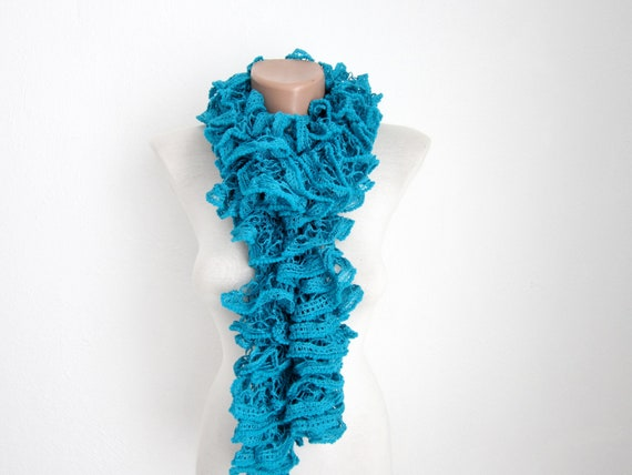 Teal Blue Knit Scarf, Frilly scarf, Ruffle Scarf, Neck Accessories, Modern Scarves, Knitting Neckwarmer, Women Lace Scarf, Knitted Curly