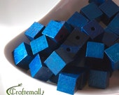 20% OFF SALE: Wooden Beads - Royal Blue 13mm - 10 Beads