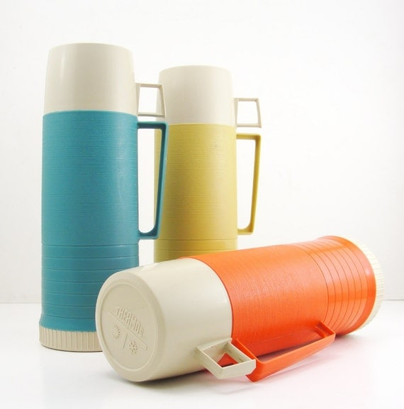 Orange Ribbed Thermos
