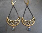 Labradorite earrings, chandelier earrings, half moon dangle, mixed metal earrings, black and gold, labradorite drop, labradorite briolette