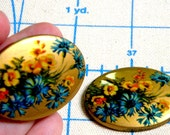 Cabochon - 3 Rare Vintage Floral and Gold Resin unset Cabochons German made Holiday Bridal/Wedding Craft High Quality