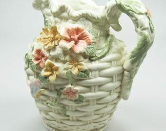 Porcelain Pitcher Raised Pastel Florals on Ivory Background Home Decor Shelf Sitter One Quart