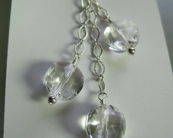 Quartz Crystal Faceted 11mm Gemstone Drop Necklace  NS808