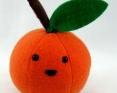 Tangerine Orange Cute Fake Food Plush Stuffed Toy Fruit Produce Polar Fleece Made in Canada