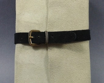 Moss green suede journal with buckle