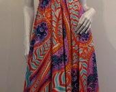Funkadellik 60s COLE OF CALIFORNIA for Bowit Teller Retro Colorful Halter Dress(reserved)