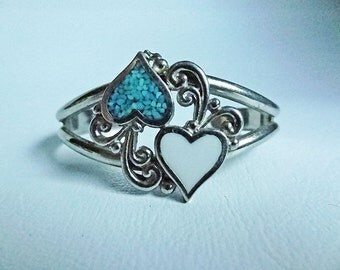 FREE SHIPPING Valentines Day Women's Vintage Silver Cuff Bracelet Lover's Hearts