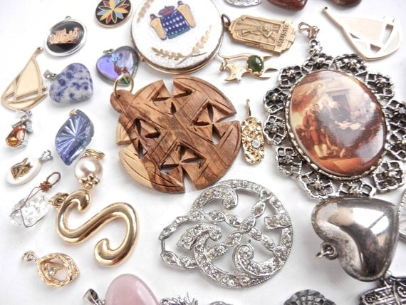 RESERVED for MS - Huge Lot of Vintage Pendants -  Over 30 Various Costume Jewelry Charms for Necklaces & Bracelets  / Pendant Destash