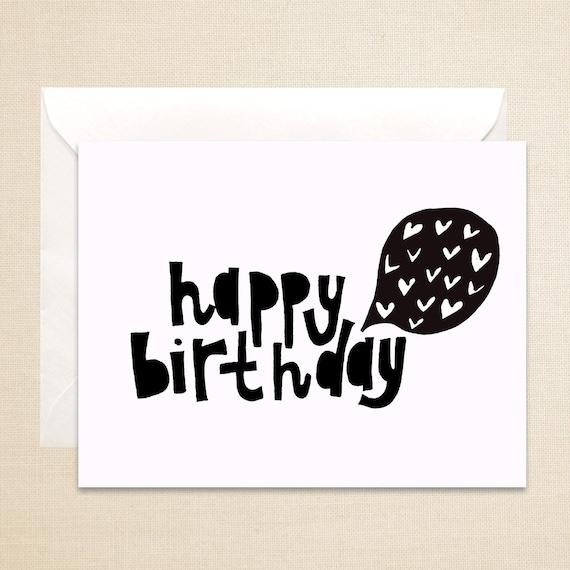 Items similar to Happy Birthday Card Love 4 12 x 5 12 hand – Black and White Birthday Card