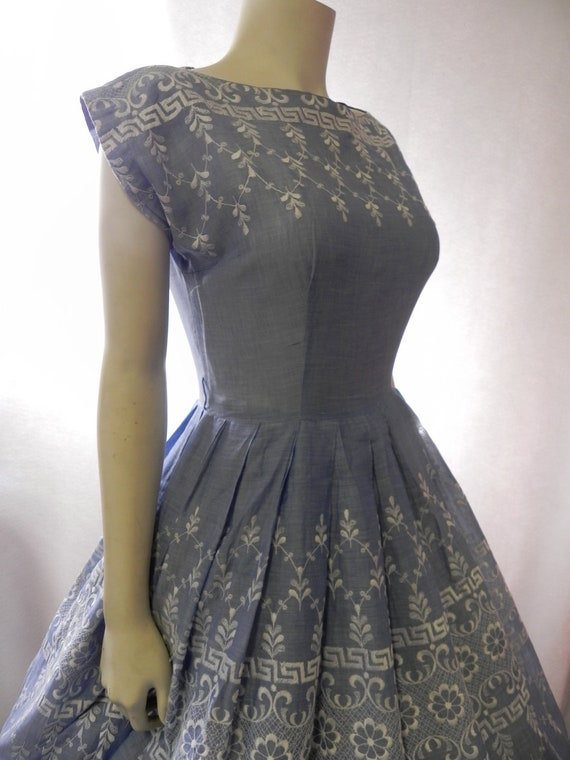 1950s  Dress 60s Full Skirt Embroidery Blue Cotton Day Dress-M