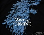 Game of Thrones Shirt Stark Winter Is Coming Mourning of the Destruction of Winterfell Unisex Mens & Womens Black Ringspun Cotton Tee