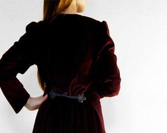 Burgundy Red Velvet Dress - Traditional Austrian Dress - 1980