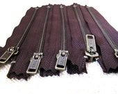 6inch - Dark Chocolate Brown Metal Zipper - Brass Teeth - 5pcs