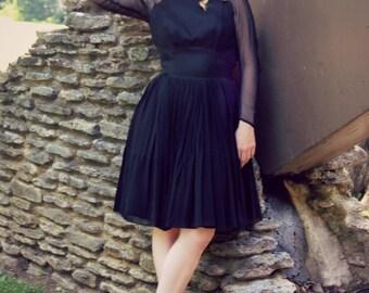 1950s 60s CHIFFON XS Black Dress - Sheer Long sleeves COCKTAIL Dress - Mad Men