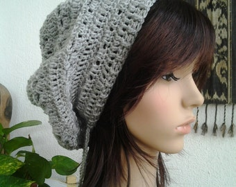 Handmade Crochet Short Rasta Tam - Grey RT75 - made to order
