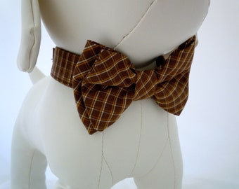 Snickers Bow Tie for Dog or Cat - Any Size - Brown Plaid
