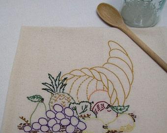 Hand Embroidered Dish Towel - Cornucopia of Fruit - Horn of Plenty - Flour Sack - Kitchen Towel - Tea Towel