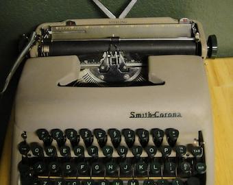 Typewriter Manual Smith Corona Sterling Green Keys