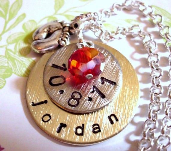 New Baby Necklace, Birth Date Jewelry, Personalized Mom Necklace, Baby Feet Necklace, New Mom Jewelry, Birth Jewelry, New Baby, New Mom