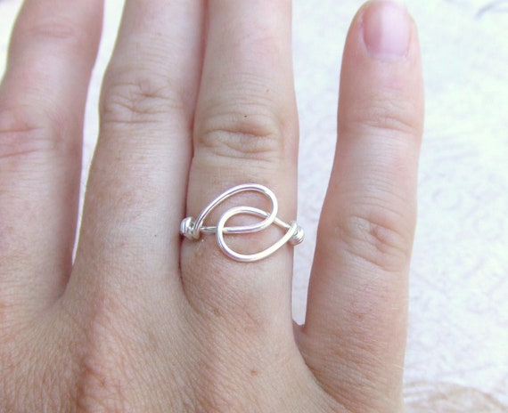 Holding Hands Friendship Ring Wire Wrapped Ring Silver Ring Simple Ring Wire Wrap Jewelry Gifts Under 10 Thank You Gift