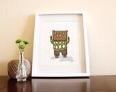 Square Bear - 8x10 Bear Art Illustration Print