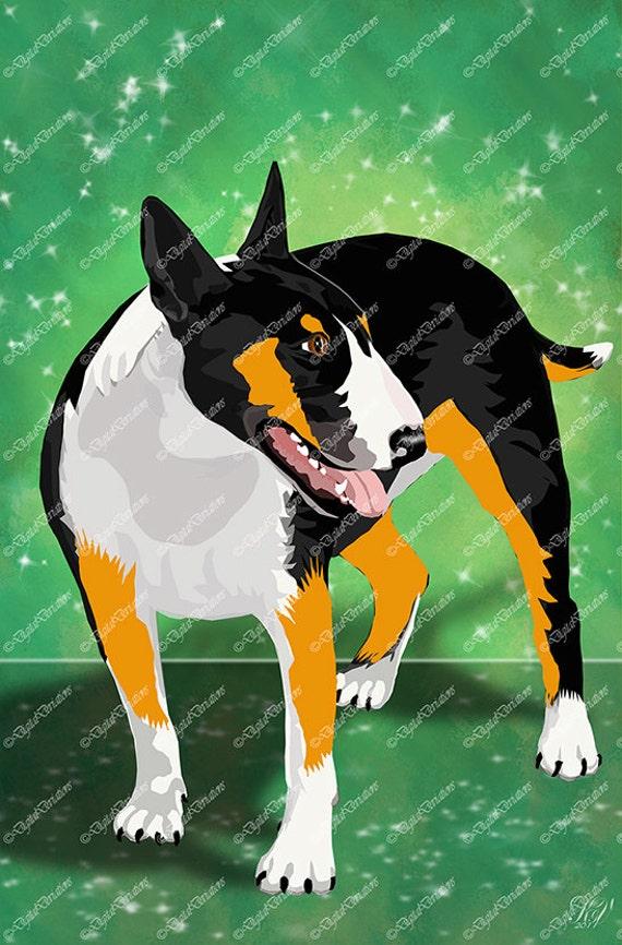 Bull Terrier Black and Tan 11X14 Print by DigitalDeviations