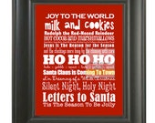 Christmas Subway Art . Holiday Song Lyric Family Rules Wall Poster Print . 11x14 // Peppermint Scarlet Red Berry