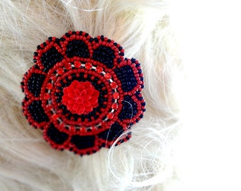 Sparkling Red and Black Beaded Hair Clip - Gothic Accessory