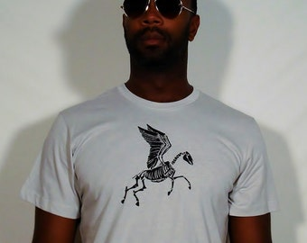 SALE Black Zombie Pegasus on 100% Cotton Silver T-Shirt - Available in S and XL