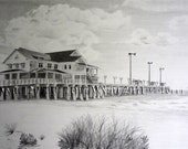 Custom Home Drawing From Your Photo - 16x20 Original Ladscape House Pencil Sketch Art From Photograph