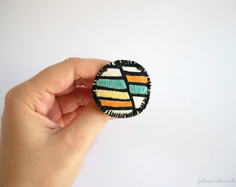 Embroidered brooch, color block jewelry, textile brooch, geometric jewelry, fiber jewelry, round brooch, jacket pin, gifts for her, under 15